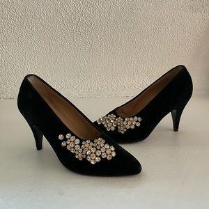 Maud Frizon Vintage Bejeweled Black Velvet Pumps